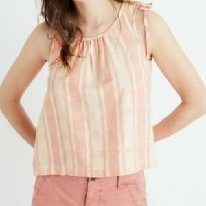 Madewell Pink White Shoulder Tie Sleeveless Blouse
